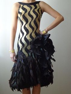 Costumes: Black & Gold #Latin Dress With #Feathers  http://www.dancingfeeling.com/
