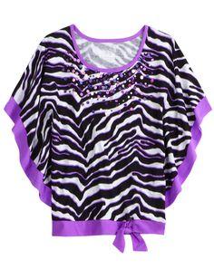 Embellished Animal Print Flowy Sleeve Top   Short Sleeve   Tops & Tees   Shop Justice