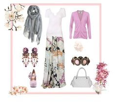 light summer hijabi outfit by sabira-amira on Polyvore featuring polyvore, fashion, style, Dolce&Gabbana, Etro, Kelsi Dagger Brooklyn, Chanel, Michal Negrin, Liz Claiborne, Love Quotes Scarves, Monsoon, Matthew Williamson, FRUIT, Yves Saint Laurent, clothing, violet, bracelets, long skirt, headscarf, pink and light summer