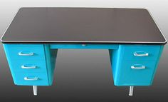 My hubs painted a tanker desk just like this one in bright red and put a new pice of sheet metal on the top. Now I can sew and craft in style! Desk Redo, Desk Makeover, Diy Desk, Home Office, Office Decor, Office Ideas, Black Desk, Steel Furniture, Office Furniture