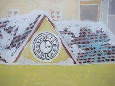 Snow Queen window mural detail - marketplace clock.