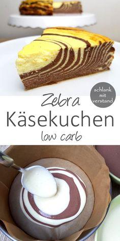 Zebra Käsekuchen low carb Dieser low carb Küchen mit seinen Zebra Streifen ist ein Highlight auf dem Tisch und passt toll in eine low carb / lchf / keto Ernährung und zum gesunden Abnehmen