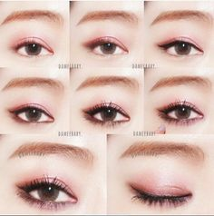 Smoky eye make up Korean Makeup Look, Korean Makeup Tips, Asian Eye Makeup, Pink Eye Makeup, Makeup Eyeshadow, Eyebrow Makeup, Asian Makeup Tutorials, Smoky Eyes, Japanese Makeup