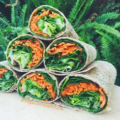 """vegannomadchick: """" After walking almost 9 miles today (I sold my car!! hooray!!) I am SO READY for these wraps!  Everything is from Trader Joe's: organic spinach and romaine (bagged), shredded..."""