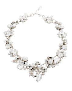 Stunning white statement wedding necklace   White Wedding Necklace from Thomas Laine