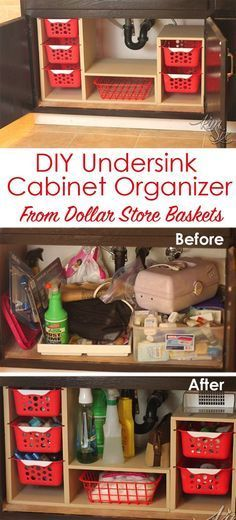 From a single sheet of plywood and some dollar store bins she built this fabulous organizer. What a great way to use all that awkward space under the sink! Undersink Cabinet Organizer with Pull Out (Diy Organization) Dollar Store Bins, Dollar Stores, Dollar Store Hacks, Ideas Para Organizar, Storage Organization, Organizing Tips, Storage Baskets, Craft Storage, Organising