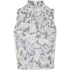 TOPSHOP Garden Floral Print Funnel Top ($38) ❤ liked on Polyvore featuring tops, topshop, multi, crop top, floral crop top, floral print crop top and women tops