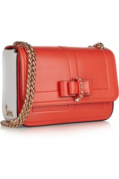 Christian Louboutin Sweet Charity small bow-embellished leather shoulder peach orange pink bag