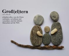 Unique, lovingly designed picture made of pebbles . Der Rhein und die… Unique, lovingly designed picture made of pebbles. The Rhine and the … – - Rock Crafts, Fun Crafts, Diy And Crafts, Crafts For Kids, Arts And Crafts, Paper Crafts, Deco Cool, Rock And Pebbles, Grandpa Gifts