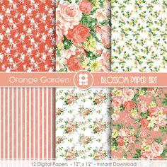 Floral Digital Paper Pack Orange Floral Digital by blossompaperart