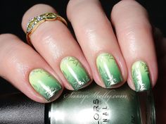 Sassy Shelly: Nails and Attitude: Green Gradient Nails & Ring GIVEAWAY! ~ Digit-al Dozen Monochrome Week - Day 2