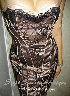 BEBE Victorian Nude Lace Swiss Dots Wiggle Corset Bustier Pencil Satin Dress M 8 | eBay