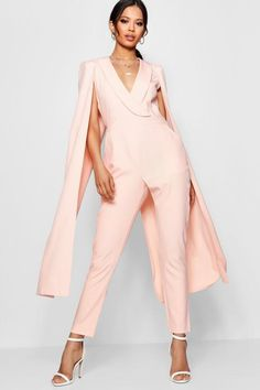 Nicole Cape Woven Tailored Jumpsuit Dressy Pants, Dressy Outfits, Casual Dresses, Cool Outfits, Short Dresses, Fashion Outfits, Cape Jumpsuit, Tailored Jumpsuit, Bridal Pants