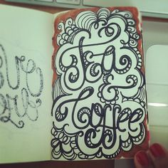 Caffeinated! #lettering #letteringdaily #doodle #moleskine #script - @magicmaia- #webstagram