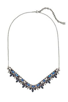 """The striking Dannijo Arabia necklace features rows of colourful Swarovski crystals on a fixed chevron shape. Adjustable length. For oxidized styles, the deliberate darkening of metal and crystal may differ from piece to piece to allow for a signature one-of-a-kind aesthetic.    Measurements: 19.75-22.75""""   Arabia Swarovski Necklace by DanniJo. Accessories - Jewelry - Necklaces - Statement Necklaces Canada"""