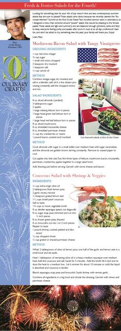 July Recipe of the Month | Fresh & Festive Salads | Fourth of July | Culinary Crafts | http://www.culinarycrafts.com/?p=14558