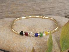 multicolored crystal & gold salvation story bracelet