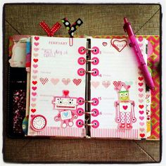 Cute pink decorated filofax