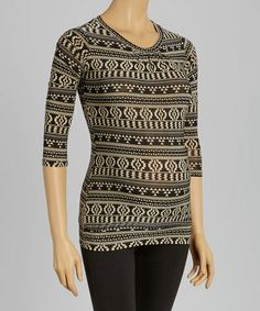 Loving this Black & Gray Abstract Gathered Maternity Top on #zulily! #zulilyfinds