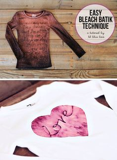 DIY Clothing & Tutorials: Easy DIY Bleach Batik Technique via lilblueboo.com