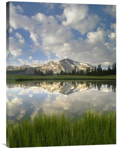 Buy positive energy vertical fine art photo Mammoth Peak and Scattered Clouds Reflected in Lake, Yosemite National Park, California by Tim Fitzharris, which is available for sale in our fine art water
