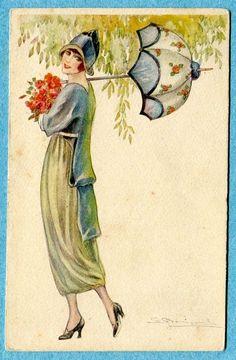 Bompard Art Deco postcard - lovely vintage fashion! I'm crazy about the parasol!