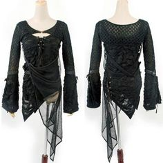 I found 'Net and Shredded Mesh Top with Side Drape' on Wish, check it out!