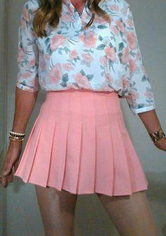 Pink pleats Pleated Mini Skirt, Skater Skirt, Mini Skirts, Tennis Clothes, Just Peachy, Sexy Skirt, Girl Fashion, Womens Fashion, Short Tops