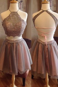 Two Piece A Line Halter Sleeveless Backless Appliques Beading Homecoming Dress H253 Short Prom Dresses, Homecoming Dresses, Prom Gowns, Party Dresses, Graduation Dresses, Short Prom Dresses, Gowns Prom, Cheap Prom Gowns on Line
