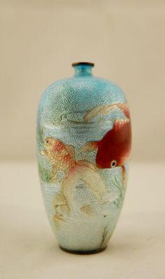 SIGNED Kawaguchi Bunzaemon Meiji Japanese Cloisonne Basse Taille Koi Fish Vase | Antiques, Asian Antiques, Japan | eBay!
