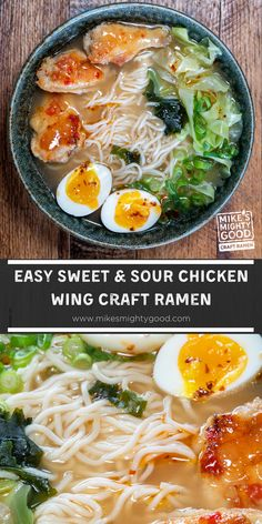 These sweet and sour chicken wings are perfect as an appetizer or a super extra ramen topping, just how we like it! Add these flavorful wings to a bowl of savory miso ramen--you can thank us later. Top Ramen Recipes, Easy Chicken Recipes, Asian Recipes, Ethnic Recipes, Sweet Sour Chicken, Baked Chicken Wings, Ramen Toppings, Boiled Cabbage, Sweet Chili