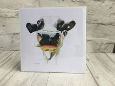 Black and white cow card, greetings card, farm animal, blank card, country theme, rural lifestyle, birthday card, bright bold art, art card