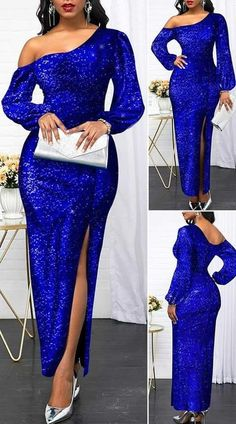 Sequin Panel Royal Blue Side Slit Maxi Dress - New Site Elegant Dresses, Sexy Dresses, Beautiful Dresses, Outfits Dress, Pretty Dresses, Party Dress Sale, Club Party Dresses, Latest African Fashion Dresses, African Dresses For Women
