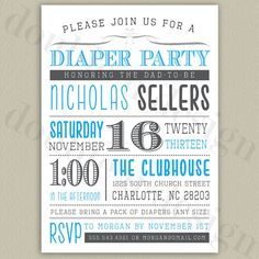 Diaper Party Invitation with Color Options by double u design on Etsy