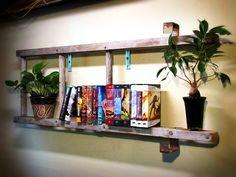 Rustic Ladder Bookshelf with Metal Brackets - 3 Rungs on Etsy, $120.00