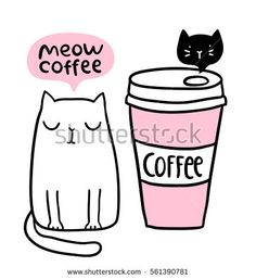 Cat cafe logo. Adorable funny kitten. Coffee to go paper cup.