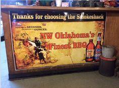 Sign in front of the cash register counter at the Smok-Shak Restaurant in Ingersoll, OK #oklahomarestaurants