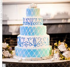 fancy and blue. I like this if the criss cross is royal blue and the design is brown