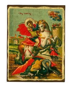 Saint George - Seriograph icon crafted in canvas with colored background on aged natural wood. King Do, Russian Icons, Military Units, Byzantine Icons, Leaf Background, Client Gifts, Religious Icons, Saint George, I Icon