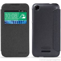 Nillkin Sparkle Series Protective Side Flip Faux Leather & PolyCarbonate Case for HTC Desire 320 - Black