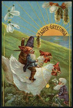 1908 EASTER FANTASY PC Gnomes Ride Chickens, Sunrise Landscape | eBay
