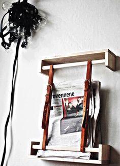 ok. forget the belts, but an upside down ikea wooden spice rack would make an ideal shelf + hanging rail...
