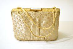 #Vintage #VogueTeam 1950s Gold Brocade Handbag L & M Spot Lite Mother of Pearl Clasp Bridal