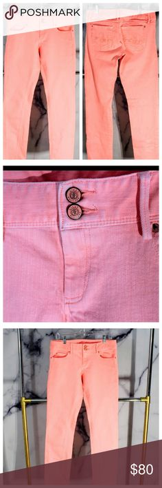 "Lilly Pulitzer ""Worth"" Pastel Coral Jean Perfect 10/10 condition. ""Worth"" straight leg. Gorgeous pastel coral color. Double button with Lilly Pulitzer brand logo. Cursive L's across the back Jean pockets. Size 8. Comment below for exact measurements Lilly Pulitzer Jeans Straight Leg"