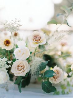 Breathtaking Bespoke Pacific Coast Wedding via Pacific Weddings Neutral Wedding Flowers, Romantic Wedding Flowers, Spring Wedding Flowers, Wedding Flower Arrangements, Flower Centerpieces, Flower Bouquet Wedding, Flower Decorations, Wedding Centerpieces, Floral Wedding
