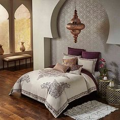 Introduce natural elegance to your bedroom with the Blissliving Bahia Palace Duvet Cover Set. This regal duvet set is crafted of a sumptuous fabric and embellished with an ornate pattern that will assuredly enhance the look of your décor. Moroccan Room, Moroccan Home Decor, Moroccan Interiors, Moroccan Style, Moroccan Lanterns, Bohemian Bedroom Decor, Bohemian Interior, Duvet Bedding Sets, Trendy Bedroom
