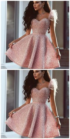 Sweetheart Pink Beaded Short Prom Dress with Feathers, Cutest Pink Dresses for Homecoming, Short Prom Party Dresses with Beading in vogue Pink Party Dresses, Cute Prom Dresses, Pretty Dresses, Homecoming Dresses, Beautiful Dresses, Dresses Dresses, Short Pink Prom Dresses, Dress Party, Formal Dresses