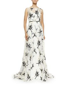 B2T52 Carolina Herrera Daisy Floral Fil Coupe Gown