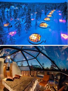 Sleeping in an igloo hotel in Finland. Imagine the stars at night!
