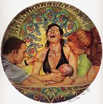 This Is Why (6 x 6 inch print) An ecstatic mother rejoices in the birth of her child. Her joy is shared by her partner and her midwife.
